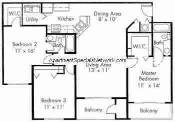 Boynton beach apartment rental bb175 3 bedroom floor plans for 3 car garage square footage